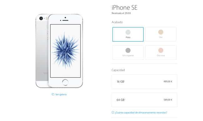 Precios del iPhone SE