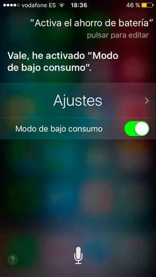 Activar modo ahorro batería con Siri