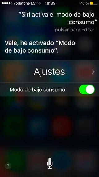Siri activa el modo de bajo consumo