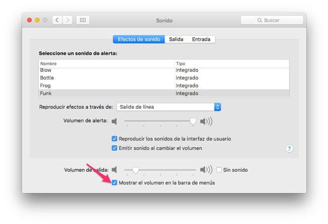 Activar el icono de mostrar volumen en la barra de menús de OS X