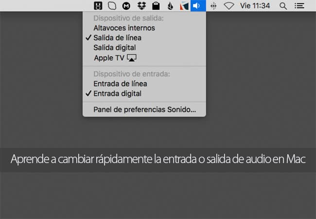 Cambiar rápidamente la entrada y salida de audio en Mac