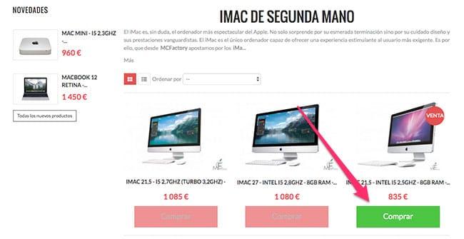 Comprar iMac de segunda mano en MCFactory