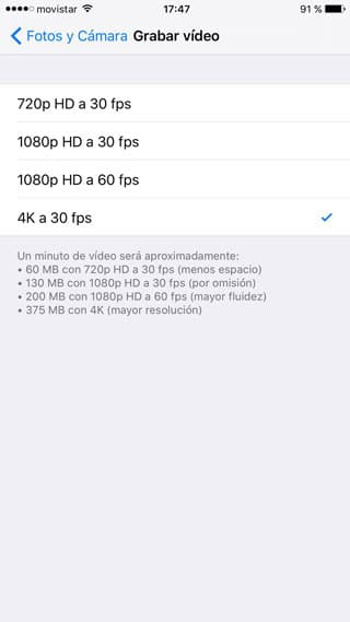 Configurar cámara iPhone 6s