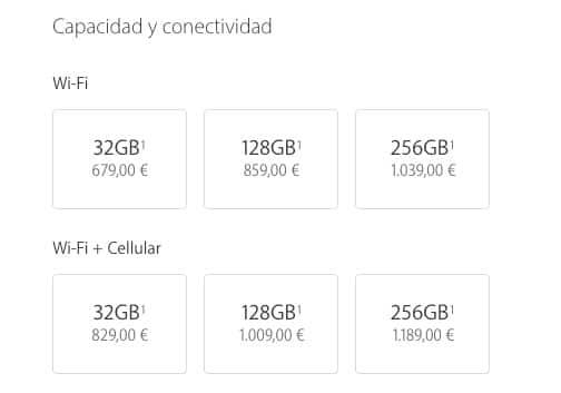 iPad Pro con hasta 256 GB de almacenamiento