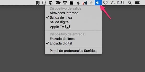 Menú de cambio rápido de entrada y salida de audio en Mac