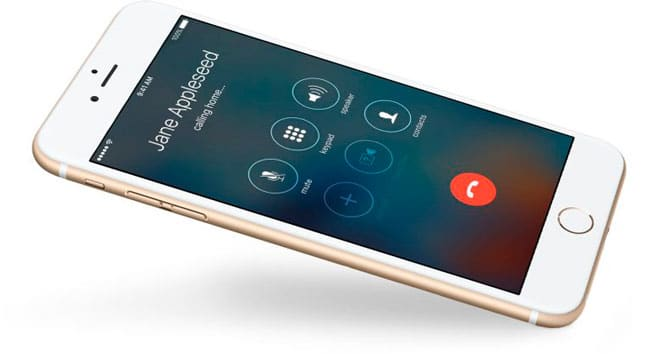 Pantalla de opciones de llamada de un iPhone