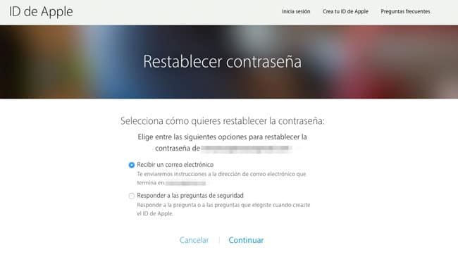 Restablecer password Apple ID desde iForgot