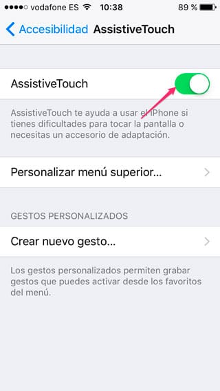 Activamos AssistiveTouch