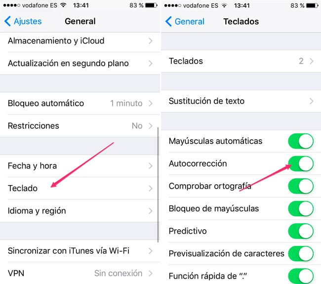 Desactivar corrector iPhone