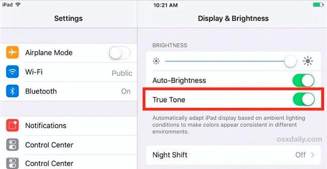 Desactivar True Tone en iPad Pro