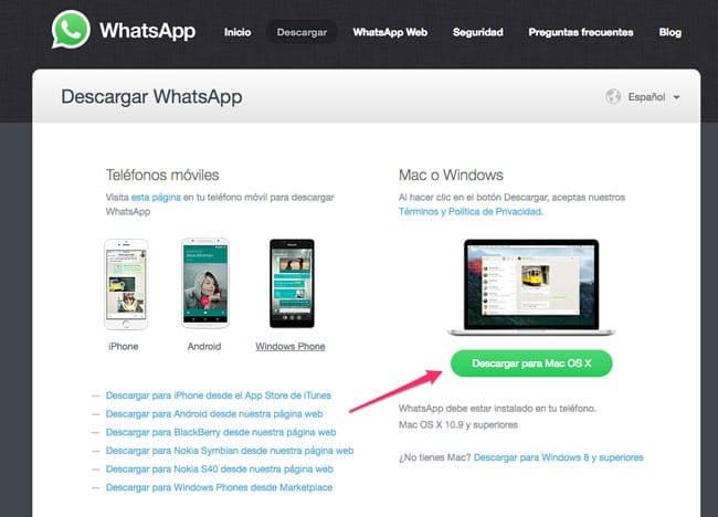 Descargar WhatsApp para Mac