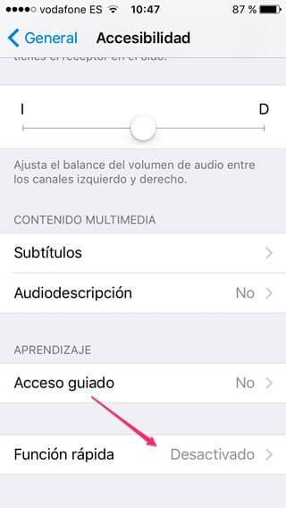 Función Rápida en Accesibilidad de iOS