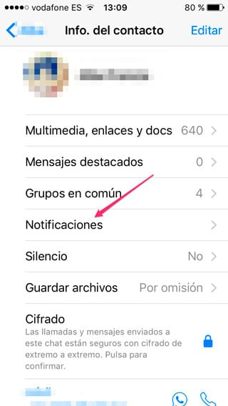 Notificaciones personalizadas en WhatsApp
