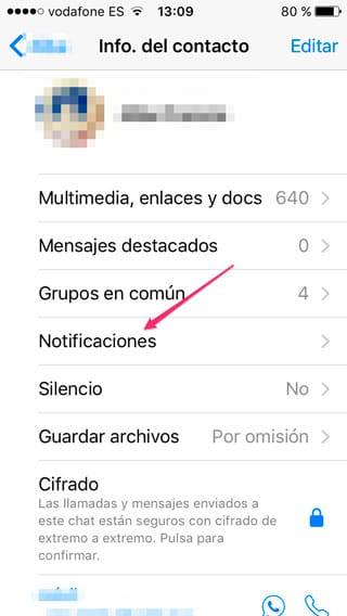 Notificaciones personalizadas en WhatsApp