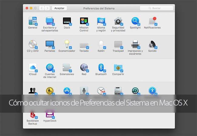 Cómo ocultar iconos de Preferencias del Sistema en Mac OS X