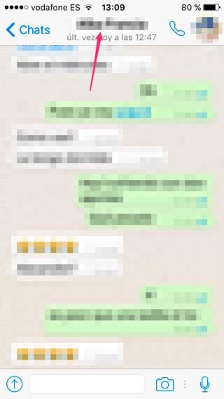 Pantalla de conversación de WhatsApp