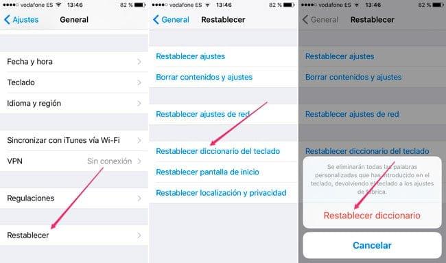 Restablecer diccionario iOS