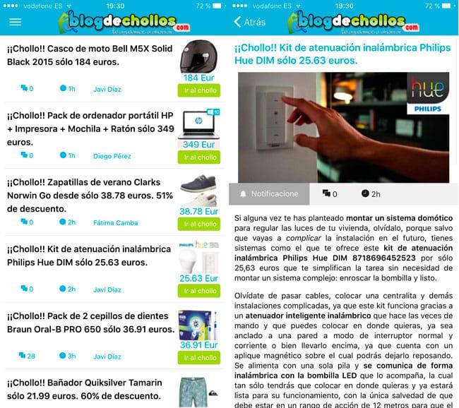 Capturas de pantalla de la app de Blogdechollos