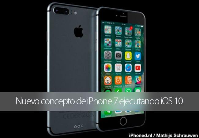 Nuevo concepto de iPhone 7 ejecutando iOS 10