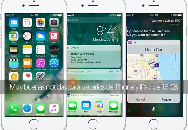 iOS 10 optimiza el espacio de almacenamiento