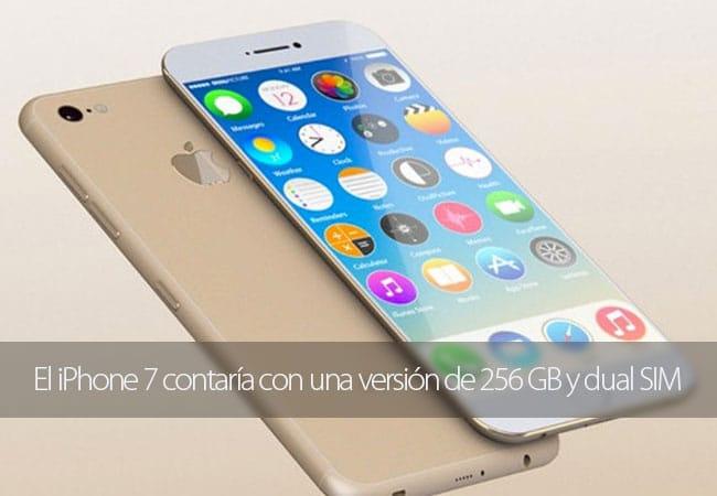 El iPhone 7 contaría con una versión de 256 GB y dual SIM