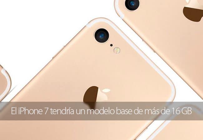 El iPhone 7 tendría un modelo base de más de 16 GB
