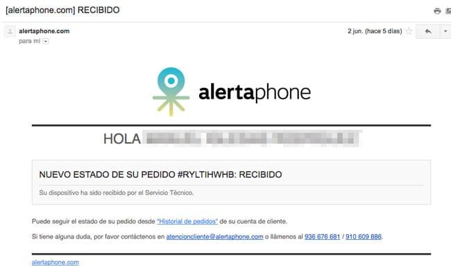 Mail de recepción de Alertaphone