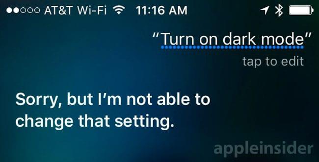 Siri habla del modo oscuro de iOS