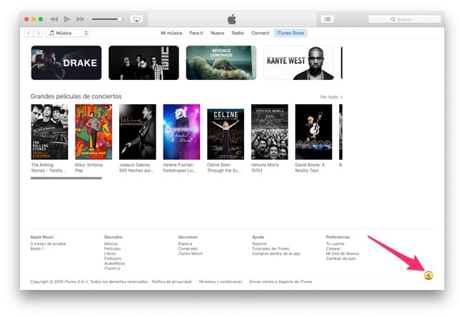 Cambiar iTunes Store