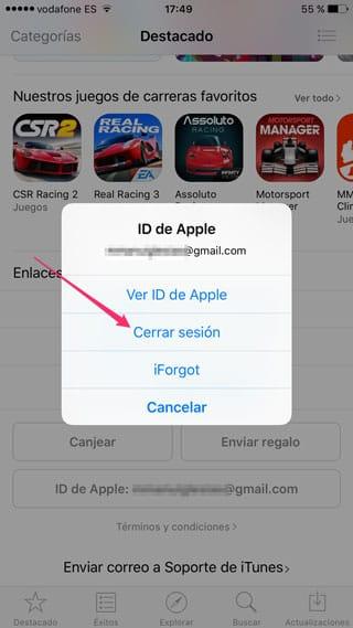 Cerrar sesión en la App Store