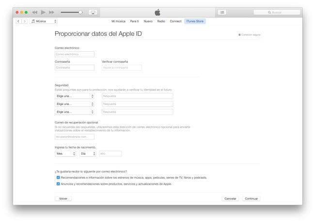 Datos para crear un Apple ID en EEUU
