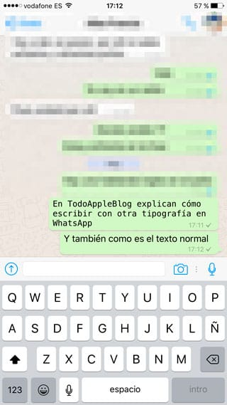 Diferente tipografía WhatsApp