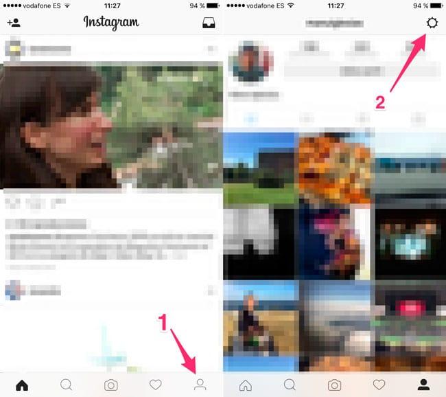 Acceso a las opciones de Instagram