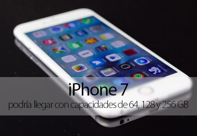 Capacidades de almacenamiento iPhone 7