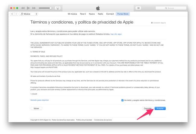 Licencia de uso iTunes Store