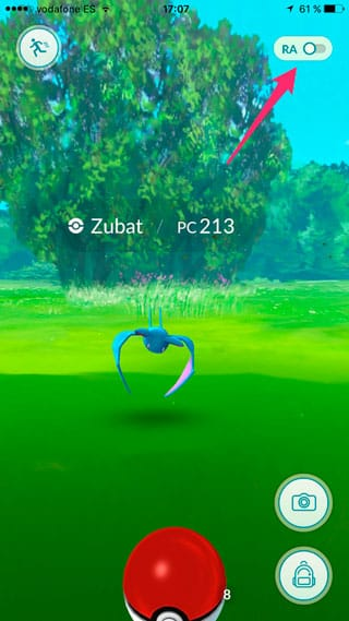 Apagar el modo RA de Pokémon GO