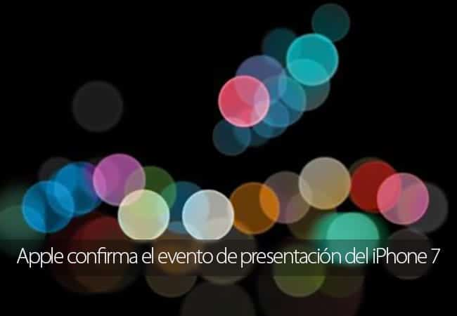 Apple confirma el evento de presentación del iPhone 7