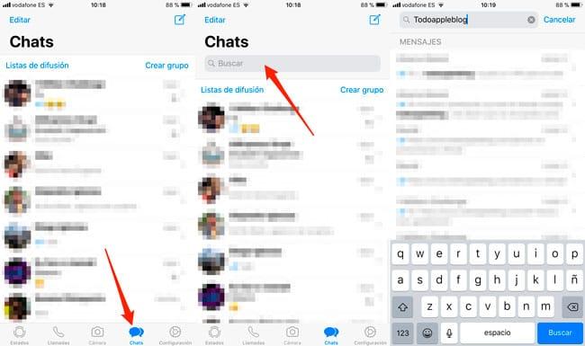 Buscar mensajes en conversaciones de WhatsApp