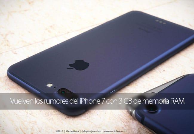 Vuelven los rumores del iPhone 7 con 3 GB de memoria RAM