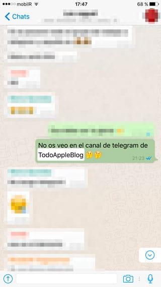 Mensaje localizado con la búsqueda de WhatsApp