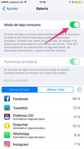 Activar modo de bajo consumo de iOS