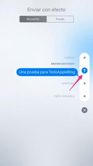 Enviar mensaje con efecto en iMessage de iOS 10