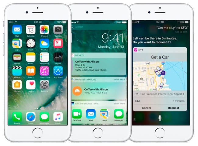 iOS 10 en iPhone blanco