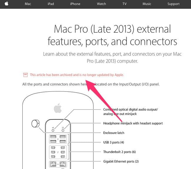 Página de soporte del Mac Pro archivada