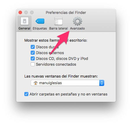 Preferencias de Finder Avanzadas