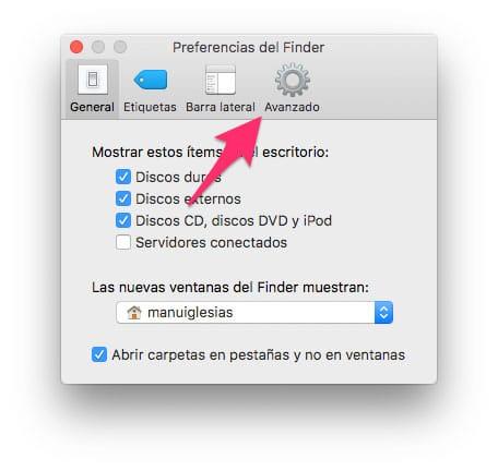 Preferencias de Finder Avanzadas