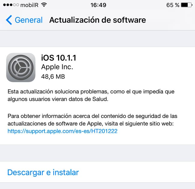 Apple libera iOS 10.1.1