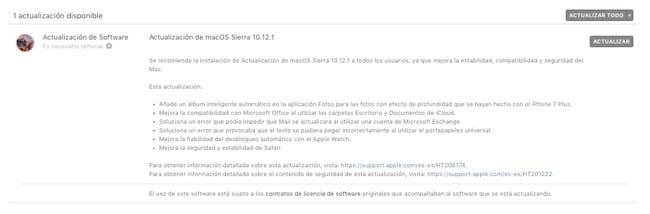 Actualización macOS Sierra 10.12.1