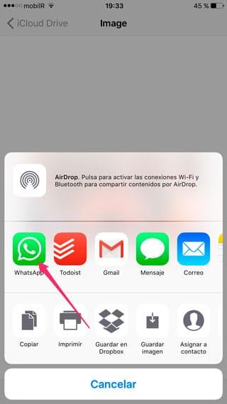 Compartir en WhatsApp desde iCloud Drive