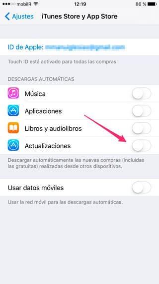 Desactivar actualizaciones automáticas de apps